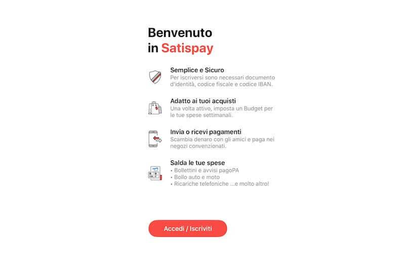 Registrazione Satispay